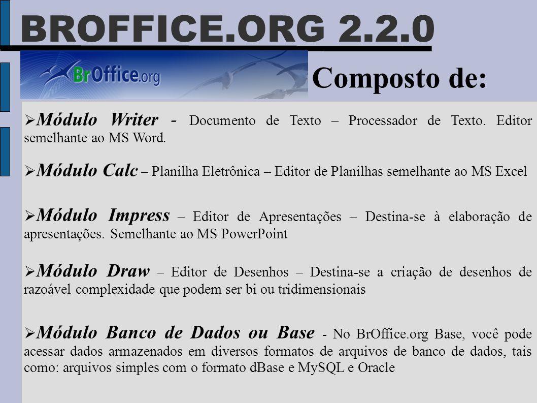 BROFFICE.ORG 2.2.0 Composto de:  Módulo Writer - Documento de Texto – Processador de Texto. Editor semelhante ao MS Word.  Módulo Calc – Planilha El