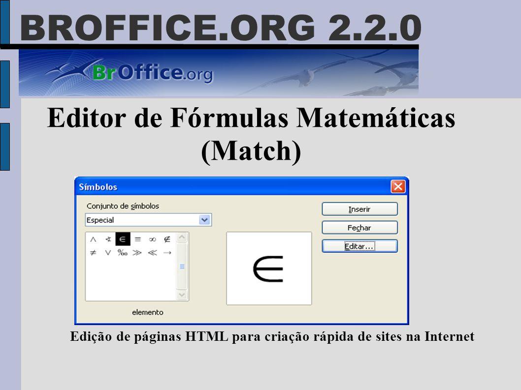 BROFFICE.ORG 2.2.0 Editor de Fórmulas Matemáticas (Match) Edição de páginas HTML para criação rápida de sites na Internet