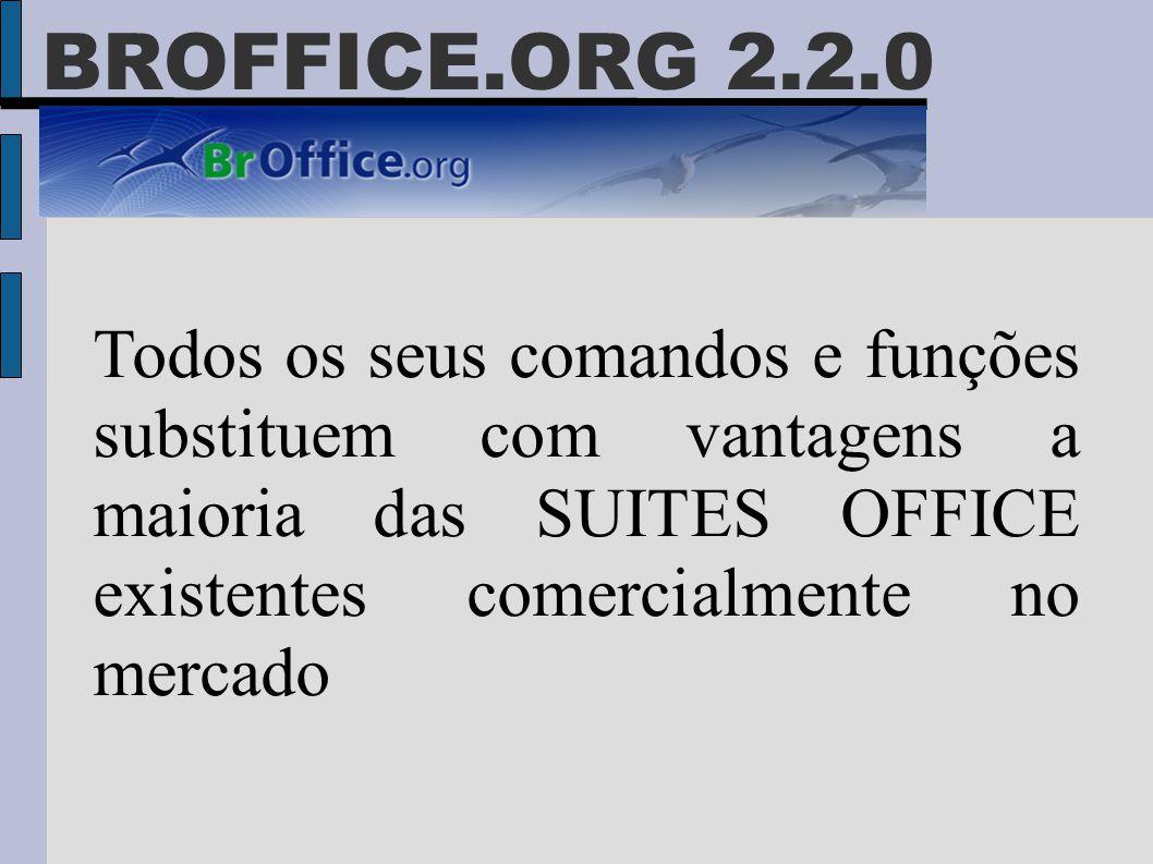 BROFFICE.ORG 2.2.0 Todos os seus comandos e funções substituem com vantagens a maioria das SUITES OFFICE existentes comercialmente no mercado