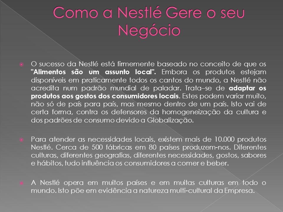  O sucesso da Nestlé está firmemente baseado no conceito de que os Alimentos são um assunto local .