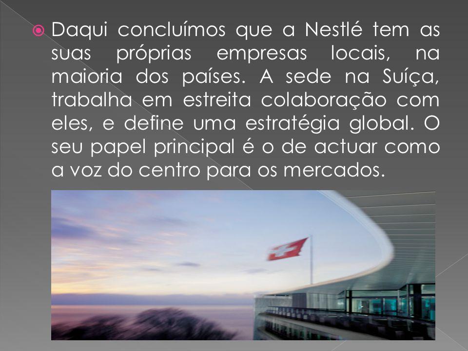  Daqui concluímos que a Nestlé tem as suas próprias empresas locais, na maioria dos países.