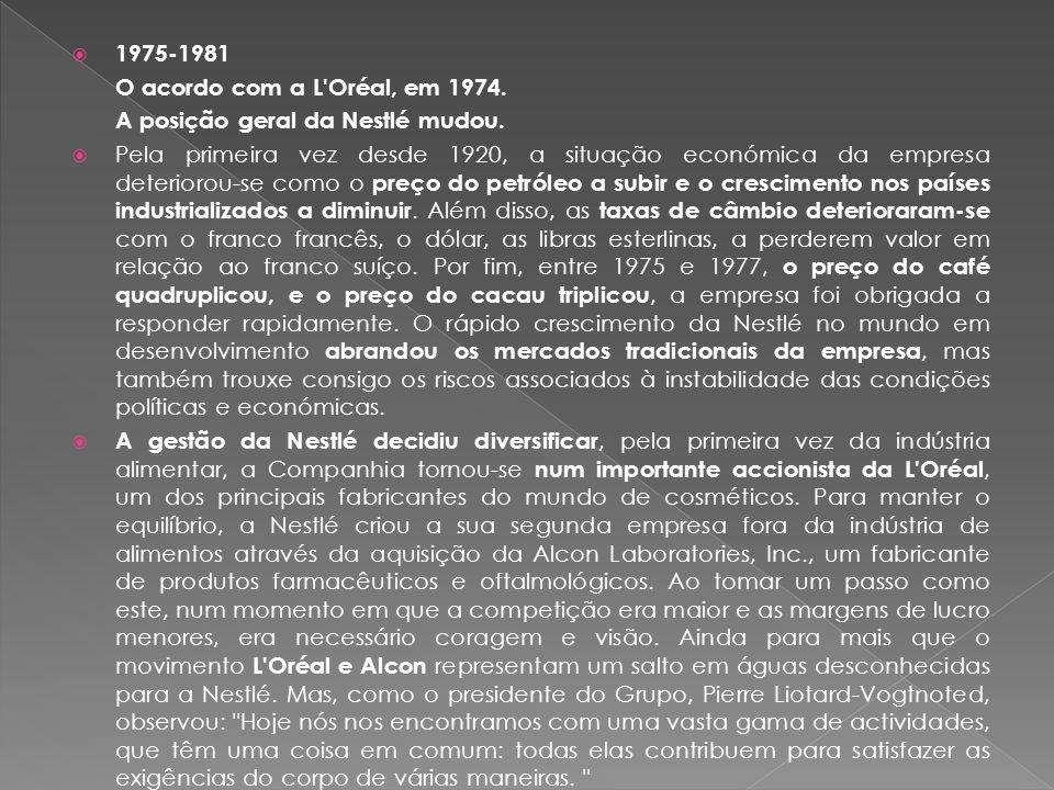  1975-1981 O acordo com a L Oréal, em 1974.A posição geral da Nestlé mudou.