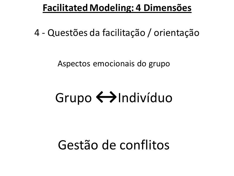 Facilitated Modeling: 4 Dimensões 4 - Questões da facilitação / orientação Aspectos emocionais do grupo Gestão de conflitos Grupo ↔ Indivíduo