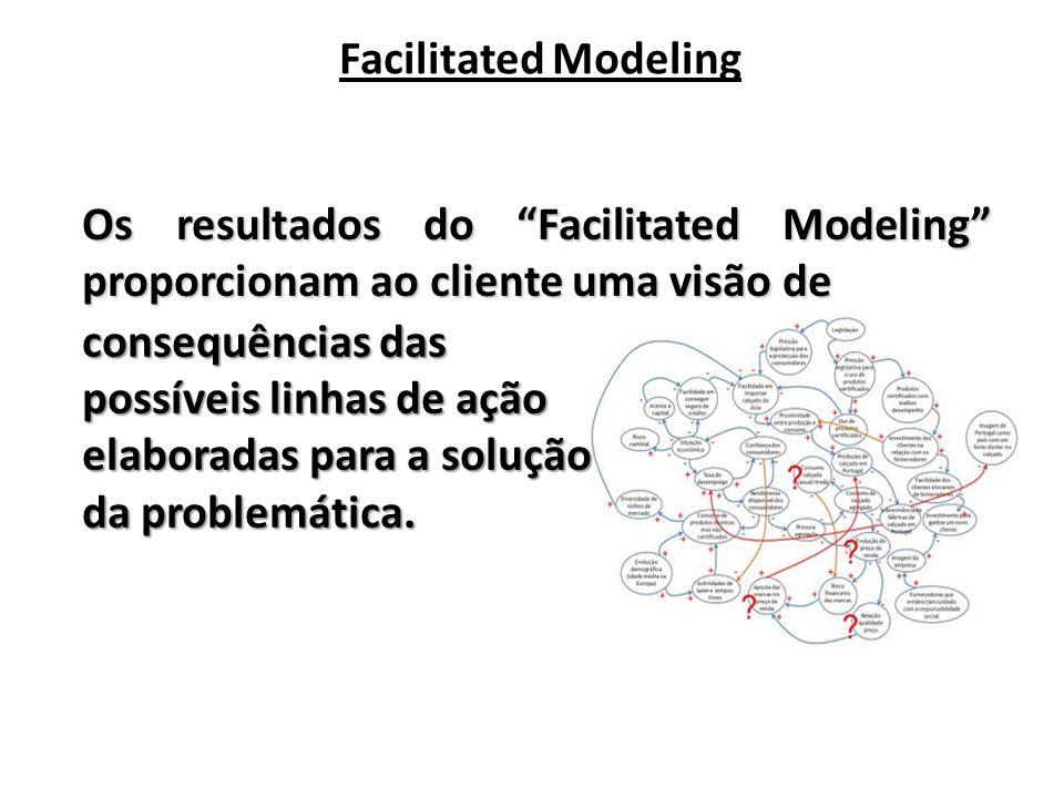 Facilitated Modeling Os resultados do Facilitated Modeling proporcionam ao cliente uma visão de consequências das possíveis linhas de ação elaboradas para a solução da problemática.
