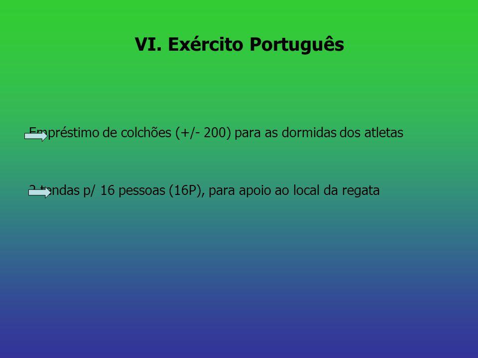 VI. Exército Português Empréstimo de colchões (+/- 200) para as dormidas dos atletas 2 tendas p/ 16 pessoas (16P), para apoio ao local da regata