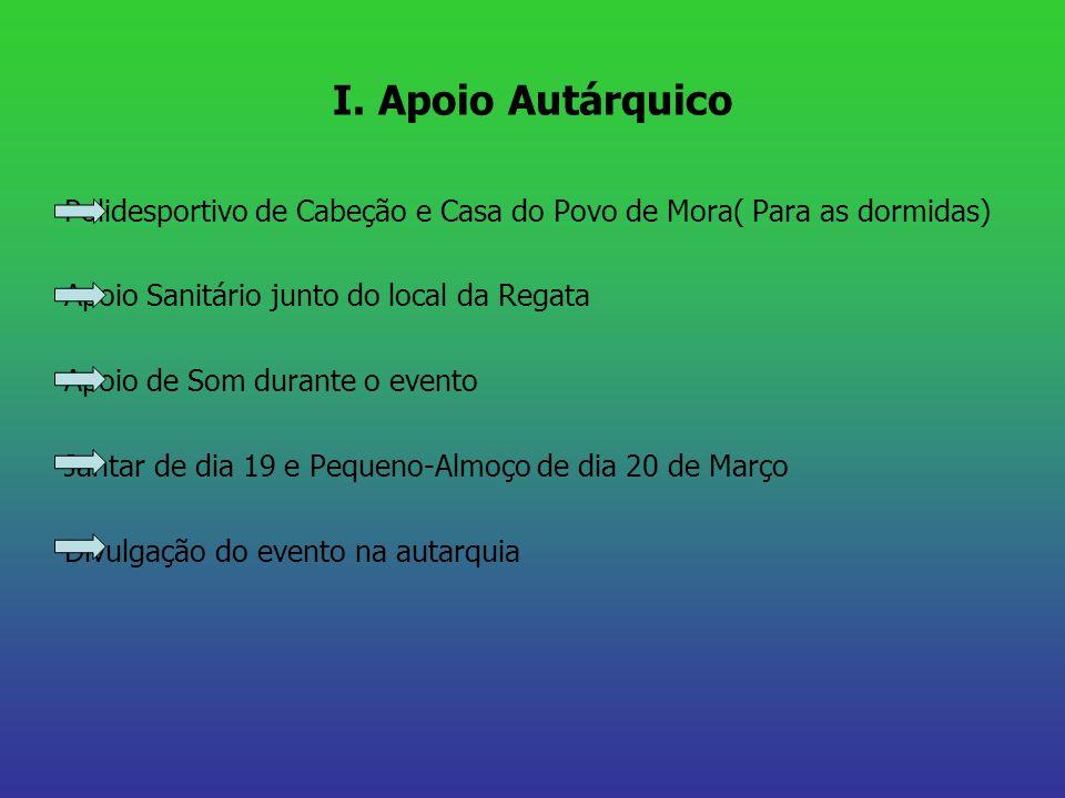 I. Apoio Autárquico Polidesportivo de Cabeção e Casa do Povo de Mora( Para as dormidas) Apoio Sanitário junto do local da Regata Apoio de Som durante