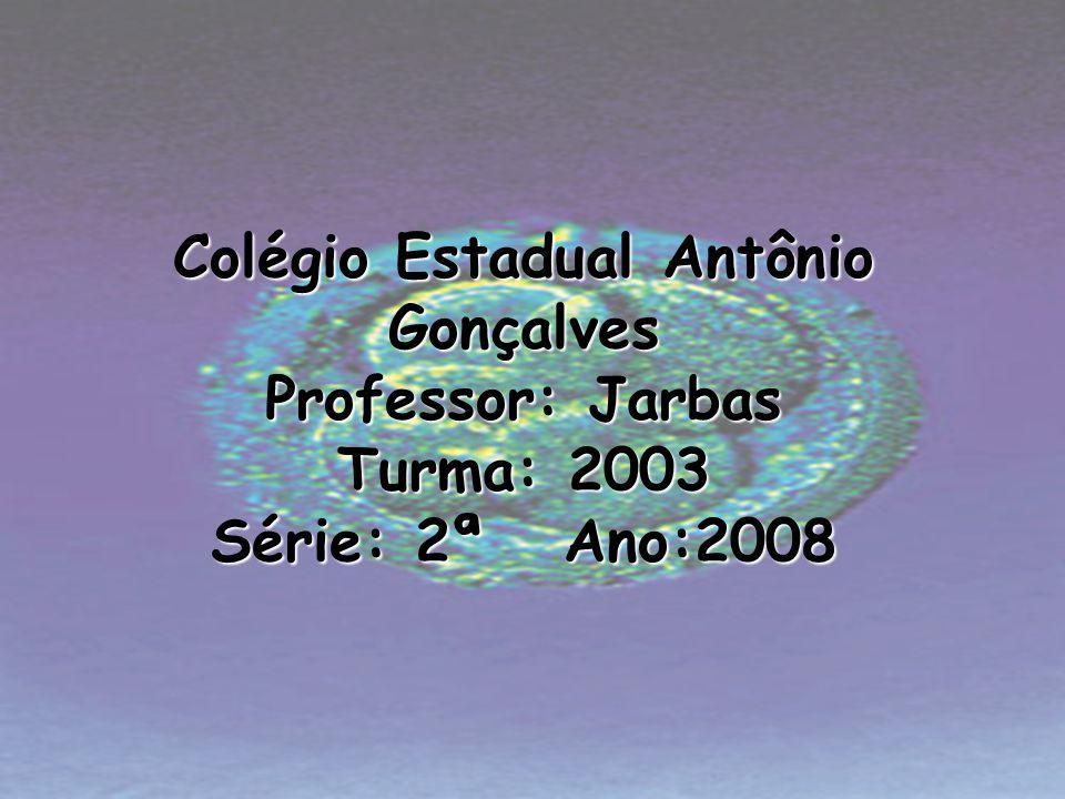 Colégio Estadual Antônio Gonçalves Professor: Jarbas Turma: 2003 Série: 2ª Ano:2008