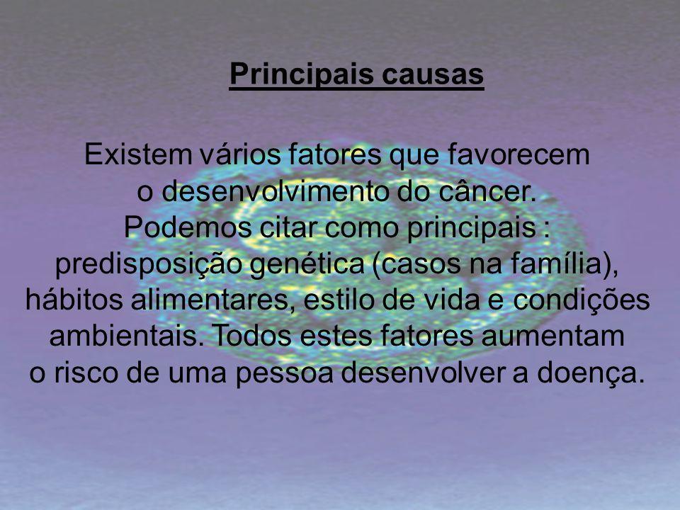 Existem vários fatores que favorecem o desenvolvimento do câncer. Podemos citar como principais : predisposição genética (casos na família), hábitos a