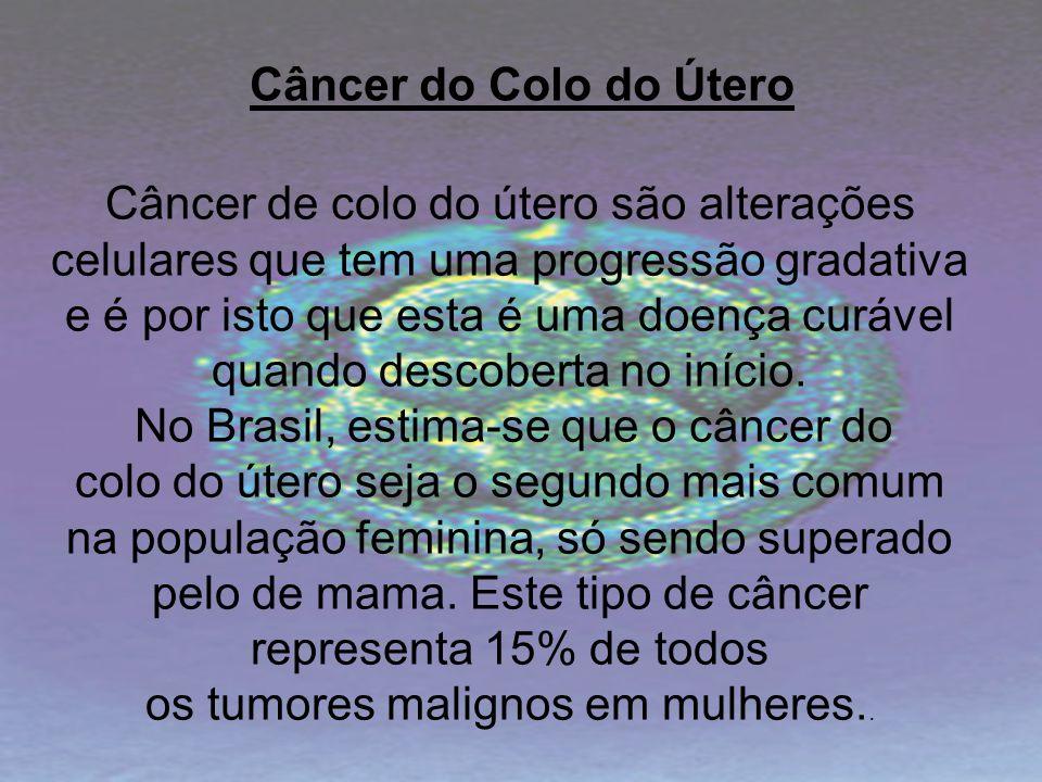 Câncer de colo do útero são alterações celulares que tem uma progressão gradativa e é por isto que esta é uma doença curável quando descoberta no iníc