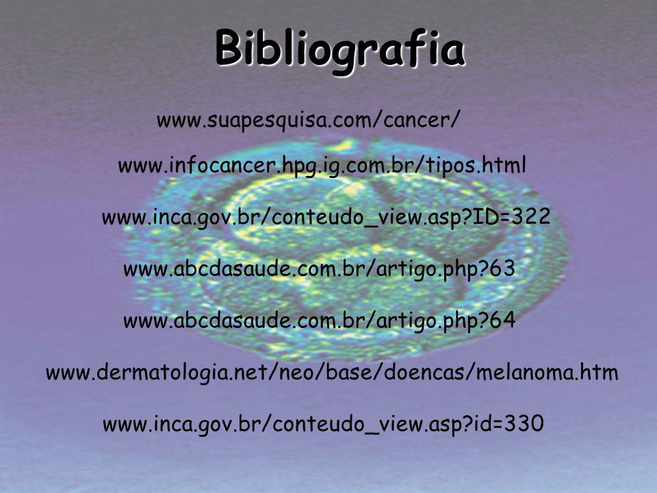 Bibliografia www.suapesquisa.com/cancer/ www.infocancer.hpg.ig.com.br/tipos.html www.inca.gov.br/conteudo_view.asp?ID=322 www.dermatologia.net/neo/bas