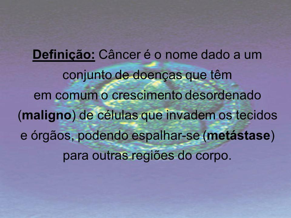 Definição: Câncer é o nome dado a um conjunto de doenças que têm em comum o crescimento desordenado (maligno) de células que invadem os tecidos e órgã