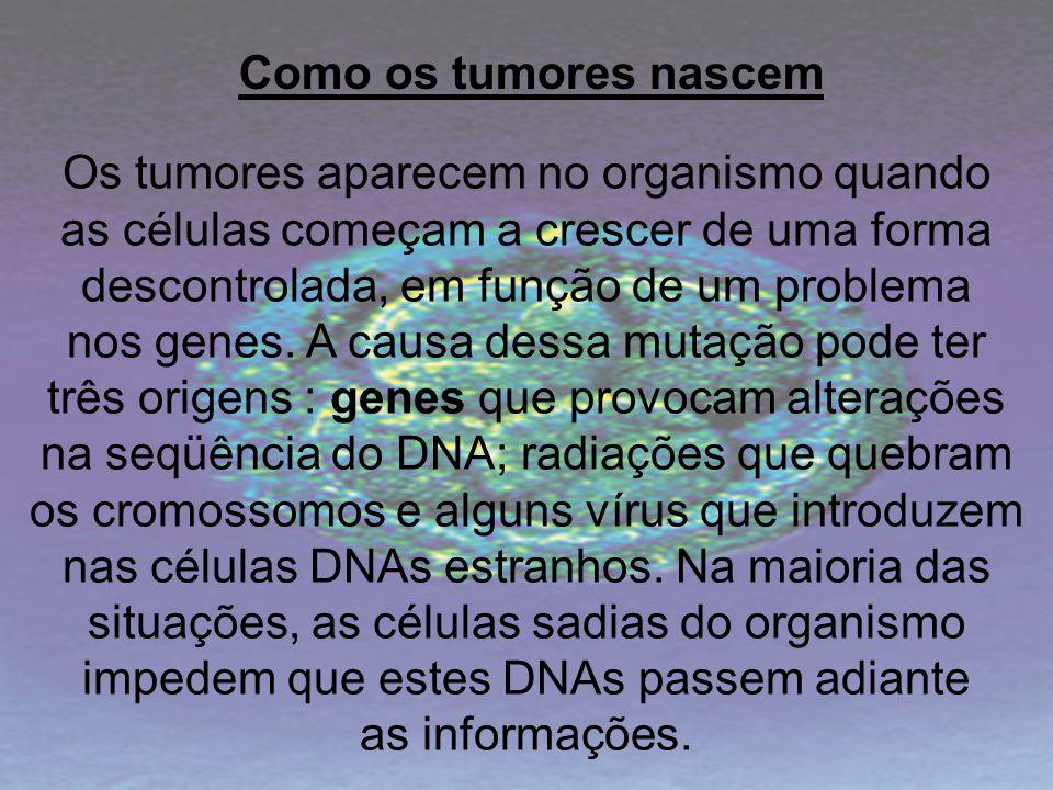 Os tumores aparecem no organismo quando as células começam a crescer de uma forma descontrolada, em função de um problema nos genes. A causa dessa mut