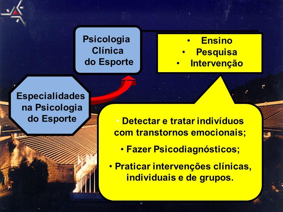 Psicologia Clínica do Esporte Especialidades na Psicologia do Esporte •Ensino •Pesquisa •Intervenção • Detectar e tratar indivíduos com transtornos em