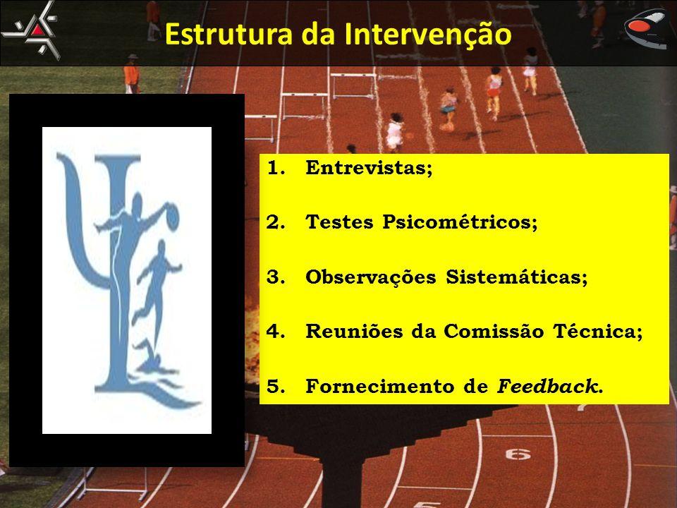 1.Entrevistas; 2.Testes Psicométricos; 3.Observações Sistemáticas; 4.Reuniões da Comissão Técnica; 5.Fornecimento de Feedback. Estrutura da Intervençã