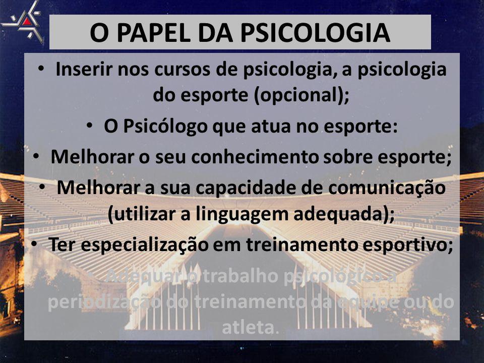 • Inserir nos cursos de psicologia, a psicologia do esporte (opcional); • O Psicólogo que atua no esporte: • Melhorar o seu conhecimento sobre esporte