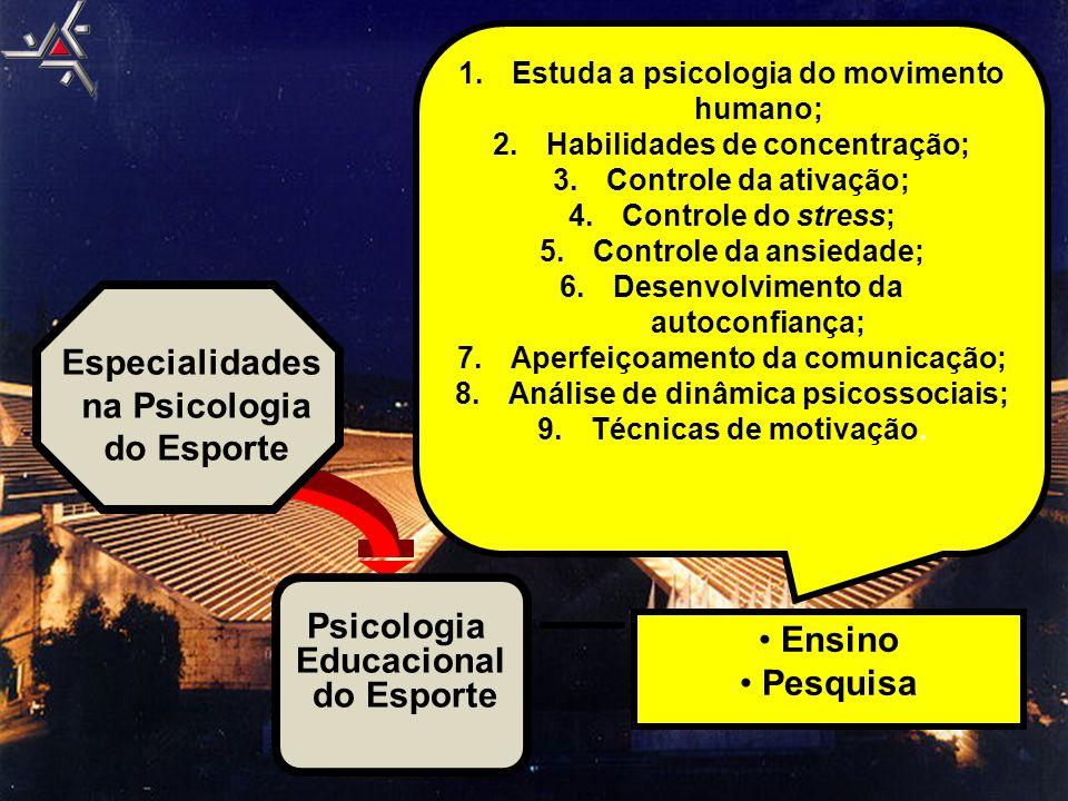 Psicologia Educacional do Esporte Especialidades na Psicologia do Esporte • Ensino • Pesquisa 1.Estuda a psicologia do movimento humano; 2.Habilidades