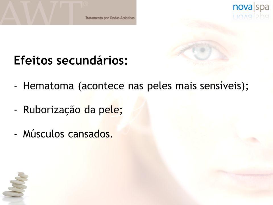 Efeitos secundários: -Hematoma (acontece nas peles mais sensíveis); -Ruborização da pele; -Músculos cansados.