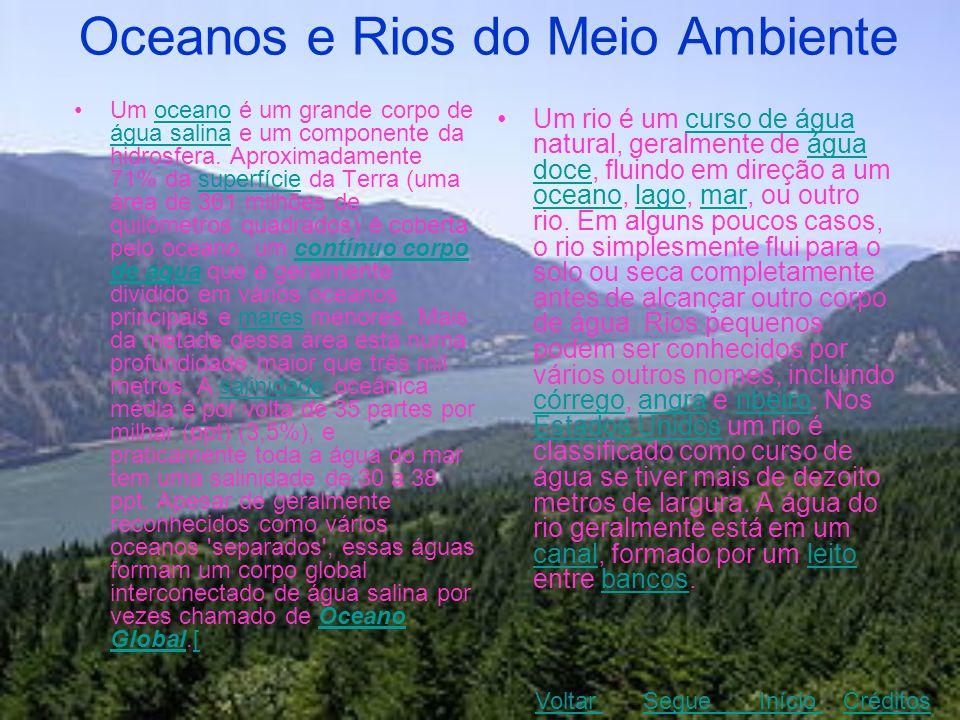 Oceanos e Rios do Meio Ambiente •Um oceano é um grande corpo de água salina e um componente da hidrosfera. Aproximadamente 71% da superfície da Terra