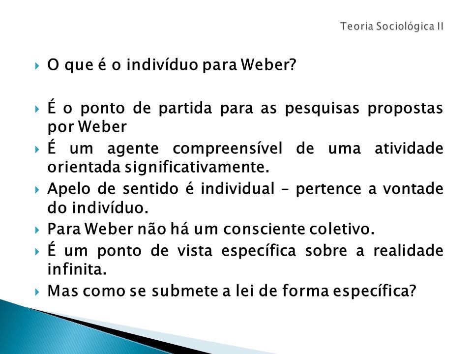  O que é o indivíduo para Weber.