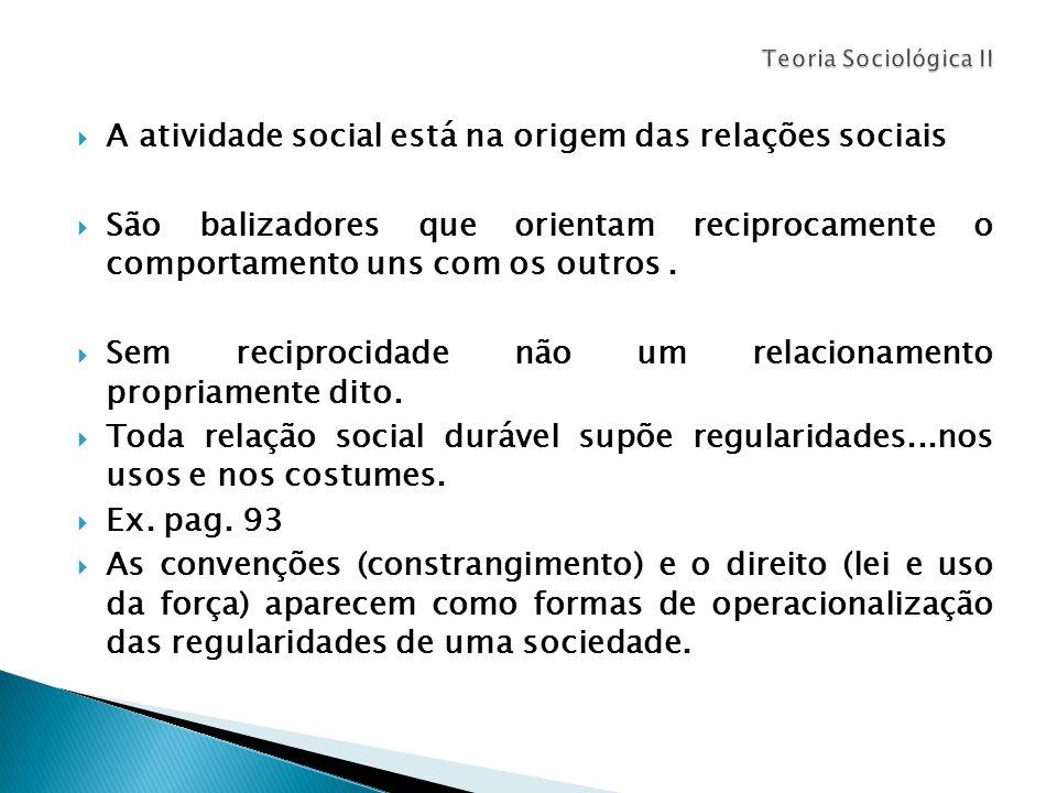  A atividade social está na origem das relações sociais  São balizadores que orientam reciprocamente o comportamento uns com os outros.