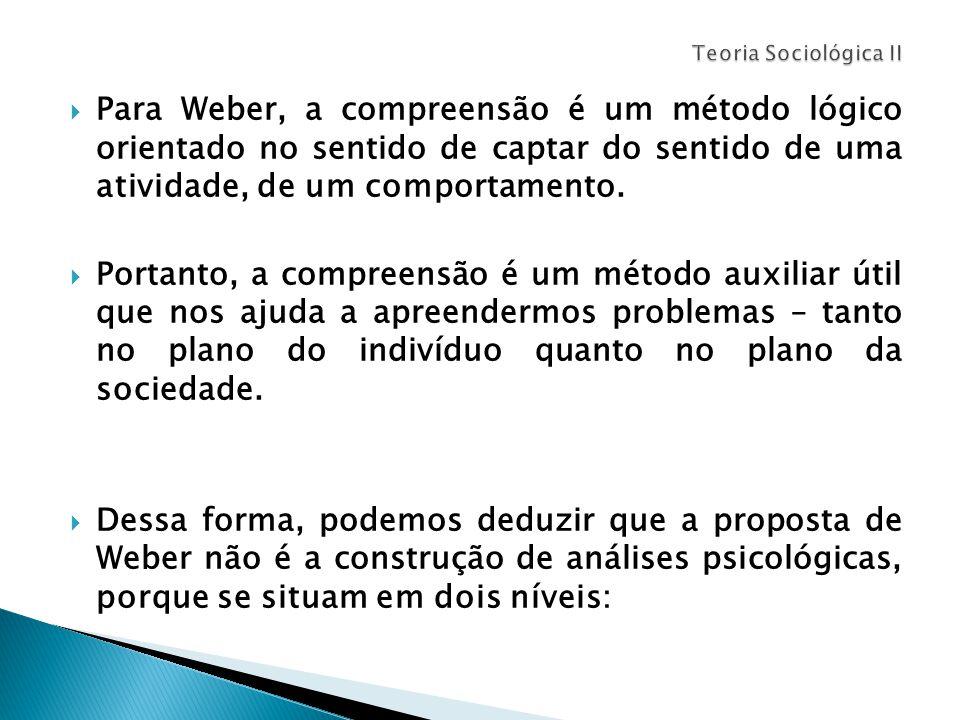  Para Weber, a compreensão é um método lógico orientado no sentido de captar do sentido de uma atividade, de um comportamento.