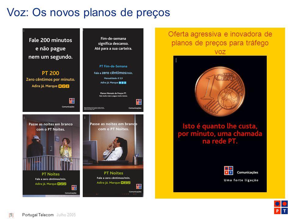 [ 6 ] Portugal Telecom Julho 2005 Dados: estratégia agressiva de expansão da banda larga… Clientes Banda Larga da PT [milhares] Adições Líquidas [milhares] Cabo ADSL Cabo ADSL 225 787 41 92 > Banda Larga – Estratégia bem sucedida e baseada em duas plataformas: ADSL e Cabo > Expansão Rápida – Abordagem proactiva na expansão da Banda Larga em Portugal > PC4ALL – Oferta de PCs de boa qualidade através de regimes de financiamento acessíveis > Sapo Challenge – Competição escolar de âmbito nacional a promover o uso da Internet + 73 % 454