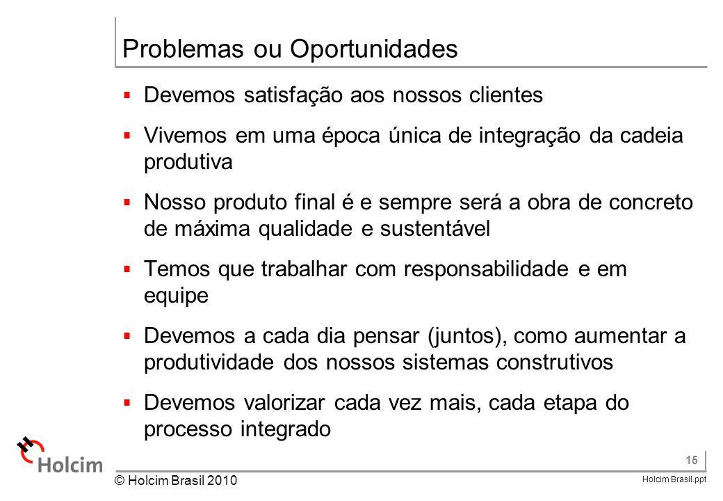 15 Holcim Brasil.ppt © Holcim Brasil 2010 Problemas ou Oportunidades  Devemos satisfação aos nossos clientes  Vivemos em uma época única de integraç
