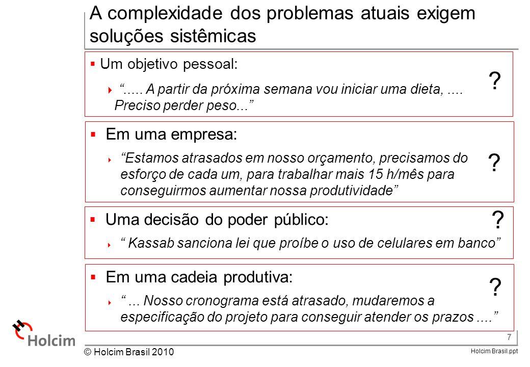 """7 Holcim Brasil.ppt © Holcim Brasil 2010 A complexidade dos problemas atuais exigem soluções sistêmicas  Um objetivo pessoal:  """"..... A partir da pr"""