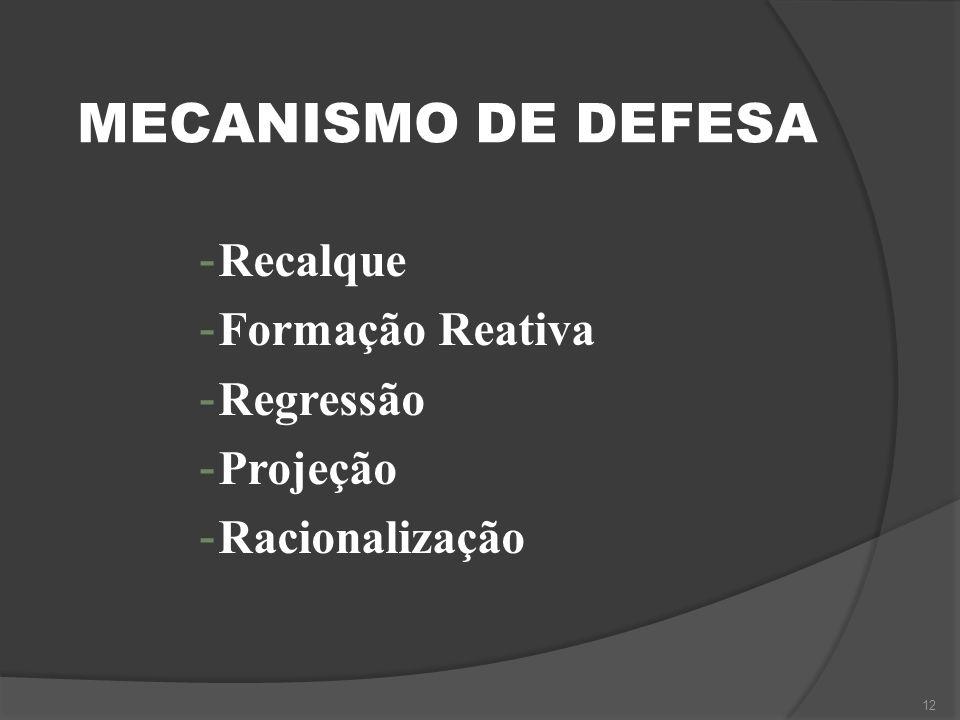 MECANISMO DE DEFESA - Recalque - Formação Reativa - Regressão - Projeção - Racionalização 12