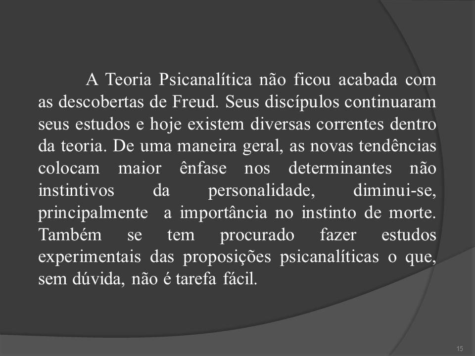 A Teoria Psicanalítica não ficou acabada com as descobertas de Freud. Seus discípulos continuaram seus estudos e hoje existem diversas correntes dentr
