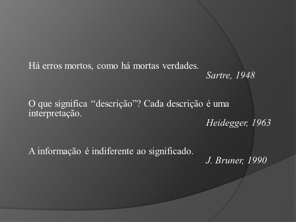"""Há erros mortos, como há mortas verdades. Sartre, 1948 O que significa """"descrição""""? Cada descrição é uma interpretação. Heidegger, 1963 A informação é"""