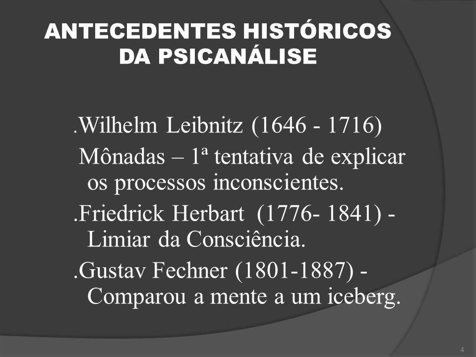 ANTECEDENTES HISTÓRICOS DA PSICANÁLISE. Wilhelm Leibnitz (1646 - 1716) Mônadas – 1ª tentativa de explicar os processos inconscientes..Friedrick Herbar