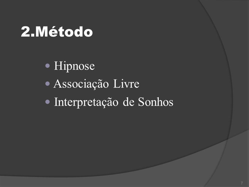 2.Método  Hipnose  Associação Livre  Interpretação de Sonhos 7