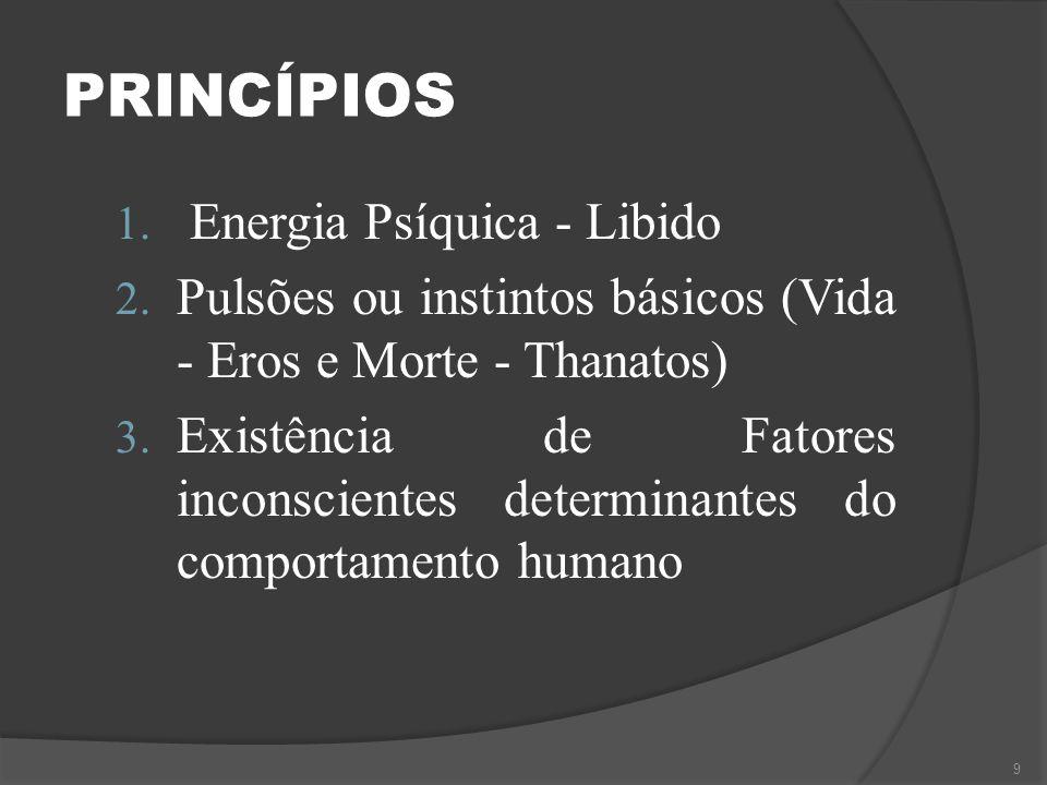 PRINCÍPIOS 1. Energia Psíquica - Libido 2. Pulsões ou instintos básicos (Vida - Eros e Morte - Thanatos) 3. Existência de Fatores inconscientes determ