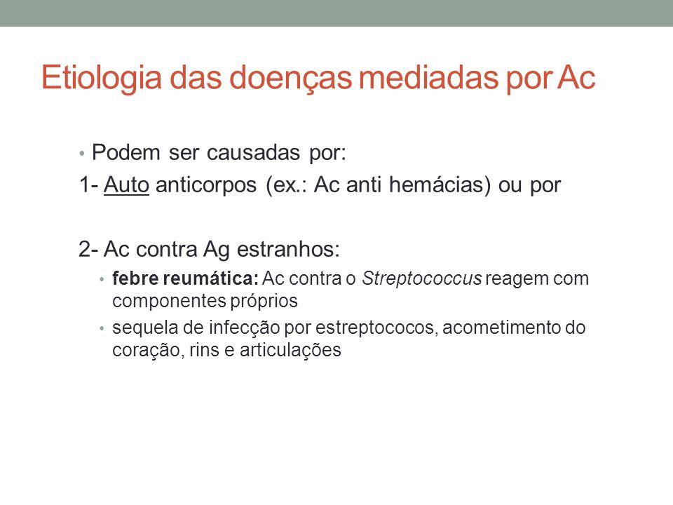 Etiologia das doenças mediadas por Ac • Podem ser causadas por: 1- Auto anticorpos (ex.: Ac anti hemácias) ou por 2- Ac contra Ag estranhos: • febre r