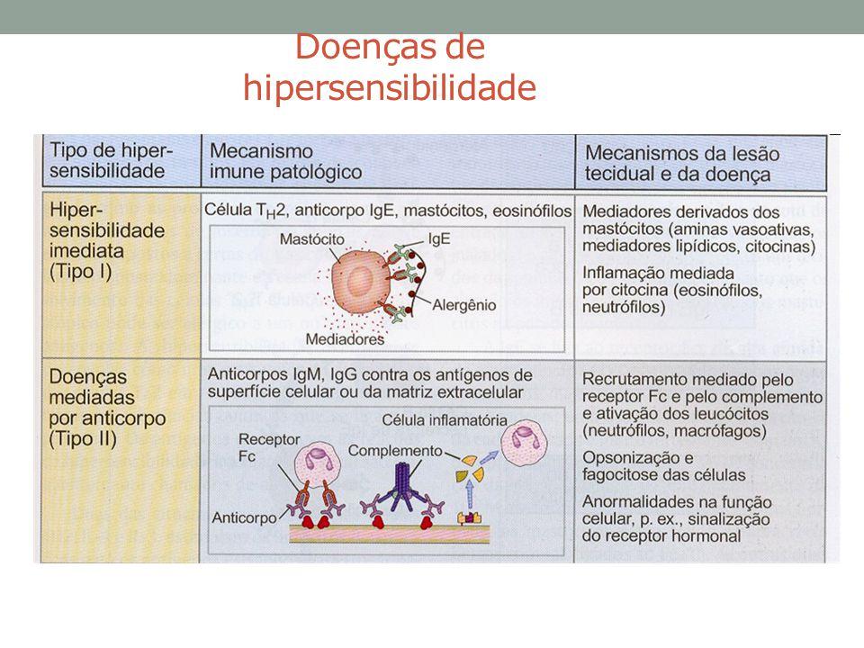 Exemplos de doenças causadas por linfócitos T • Tuberculose: infecção difícil de erradicar, lesão no local da infecção (pulmões, intestino, sistema nervoso) • Infecção pelo HBV: a resposta do linfócito T citotóxico provoca lesão hepática