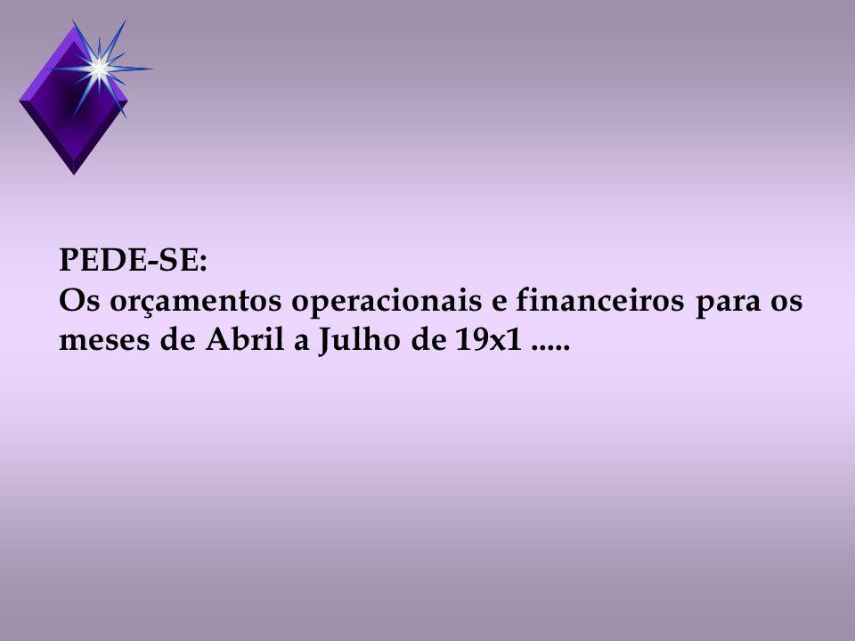 PEDE-SE: Os orçamentos operacionais e financeiros para os meses de Abril a Julho de 19x1.....