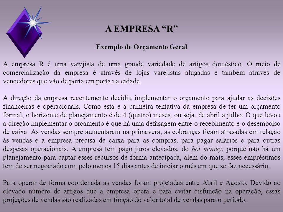 A EMPRESA R Exemplo de Orçamento Geral A empresa R é uma varejista de uma grande variedade de artigos doméstico.
