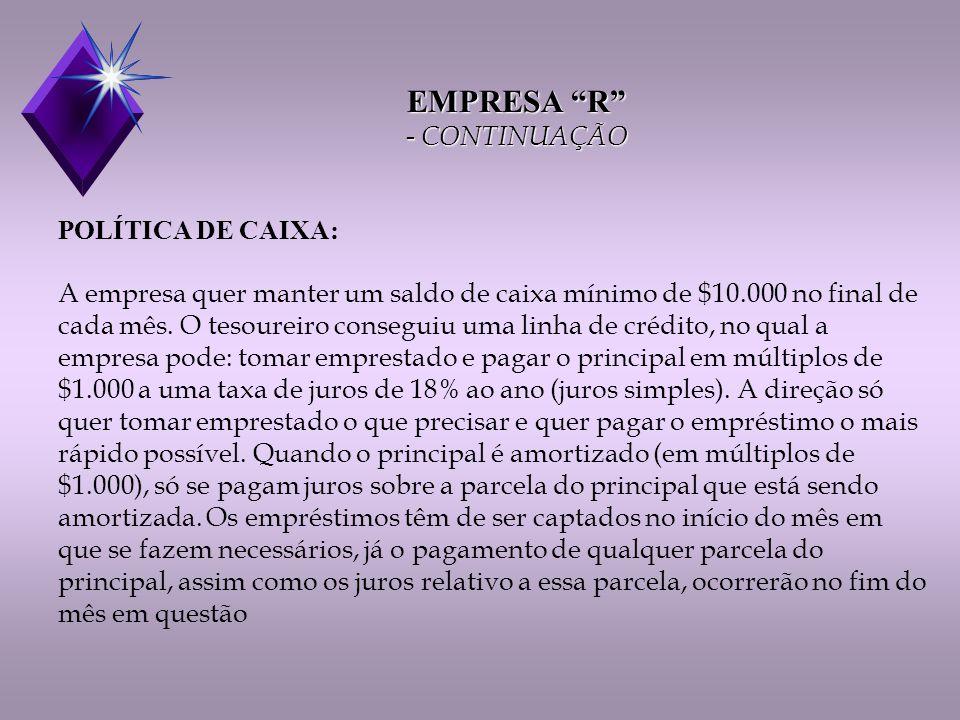 EMPRESA R - CONTINUAÇÃO POLÍTICA DE CAIXA: A empresa quer manter um saldo de caixa mínimo de $10.000 no final de cada mês.