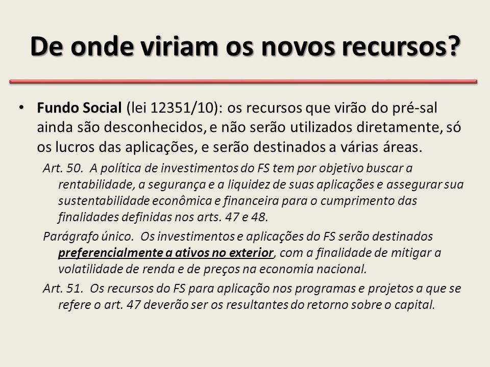 De onde viriam os novos recursos? • Fundo Social (lei 12351/10): os recursos que virão do pré-sal ainda são desconhecidos, e não serão utilizados dire