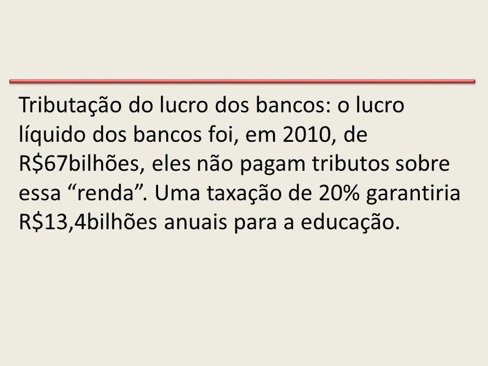 """Tributação do lucro dos bancos: o lucro líquido dos bancos foi, em 2010, de R$67bilhões, eles não pagam tributos sobre essa """"renda"""". Uma taxação de 20"""