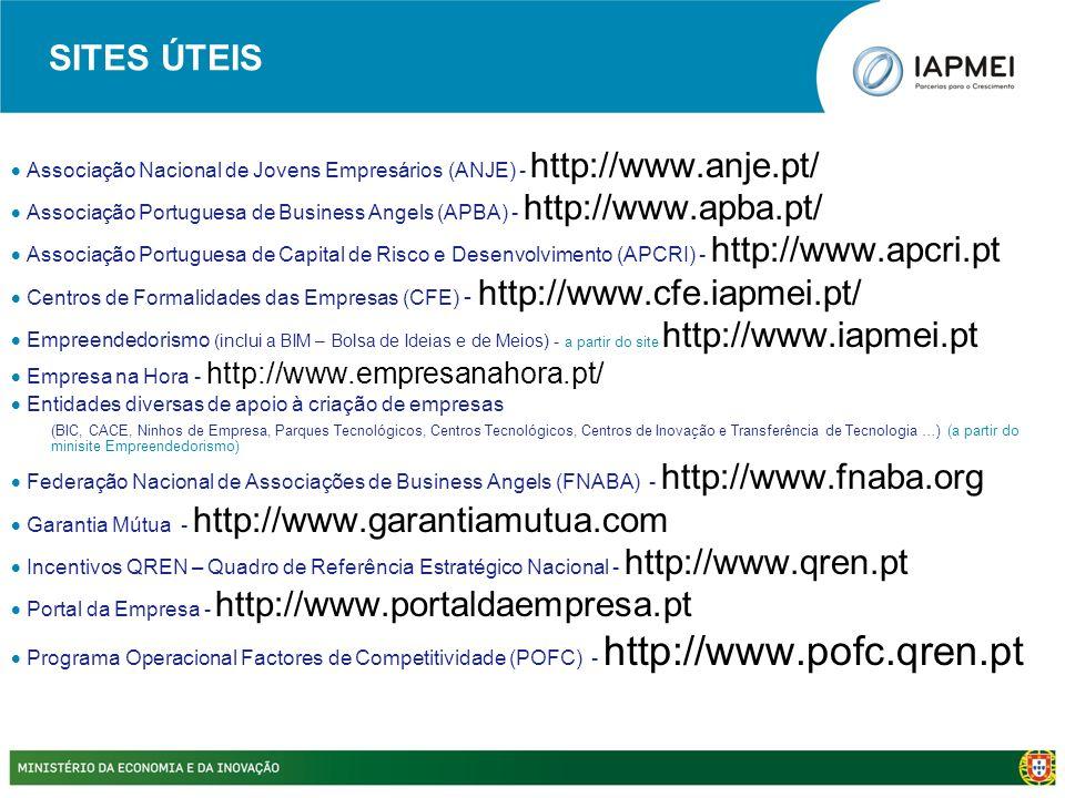 SITES ÚTEIS  Associação Nacional de Jovens Empresários (ANJE) - http://www.anje.pt/  Associação Portuguesa de Business Angels (APBA) - http://www.ap