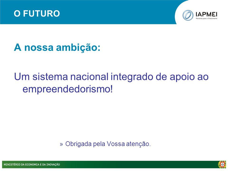 O FUTURO A nossa ambição: Um sistema nacional integrado de apoio ao empreendedorismo! »Obrigada pela Vossa atenção.