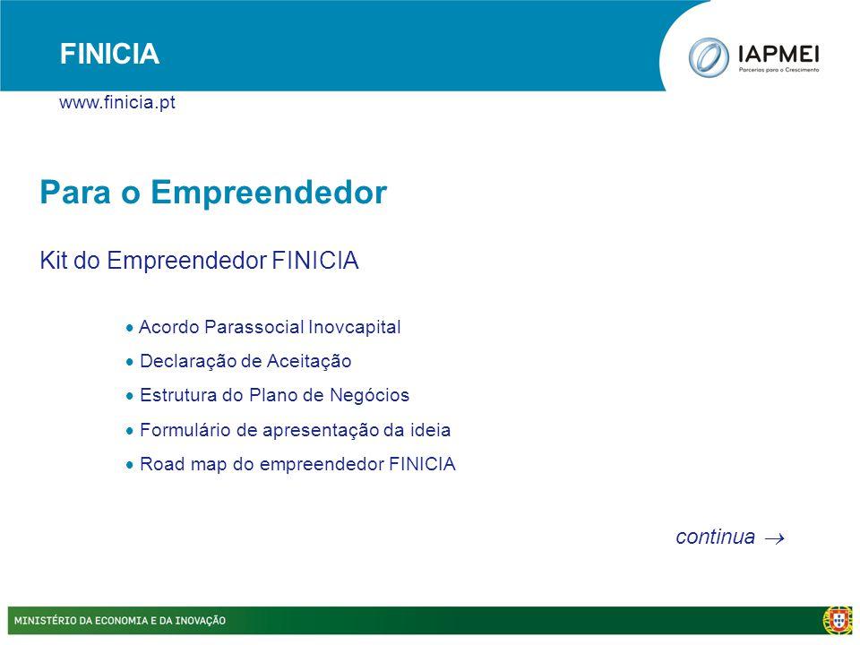 Para o Empreendedor Kit do Empreendedor FINICIA  Acordo Parassocial Inovcapital  Declaração de Aceitação  Estrutura do Plano de Negócios  Formulár