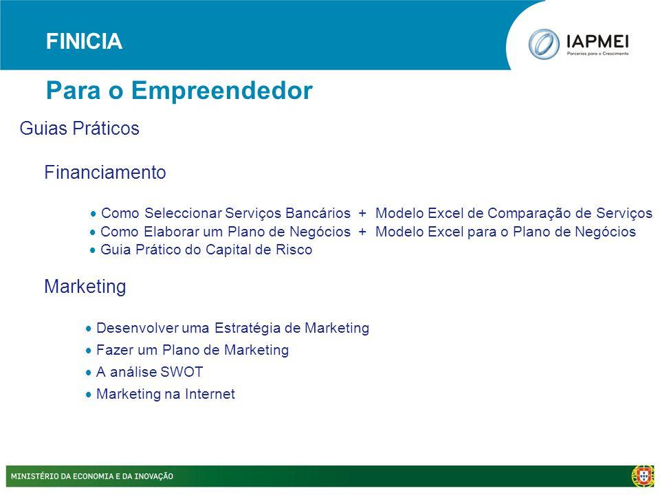 Guias Práticos Financiamento  Como Seleccionar Serviços Bancários + Modelo Excel de Comparação de Serviços  Como Elaborar um Plano de Negócios + Mod