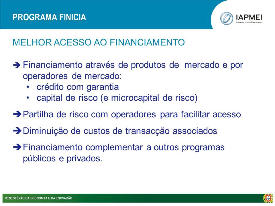 MELHOR ACESSO AO FINANCIAMENTO  Financiamento através de produtos de mercado e por operadores de mercado: •crédito com garantia •capital de risco (e