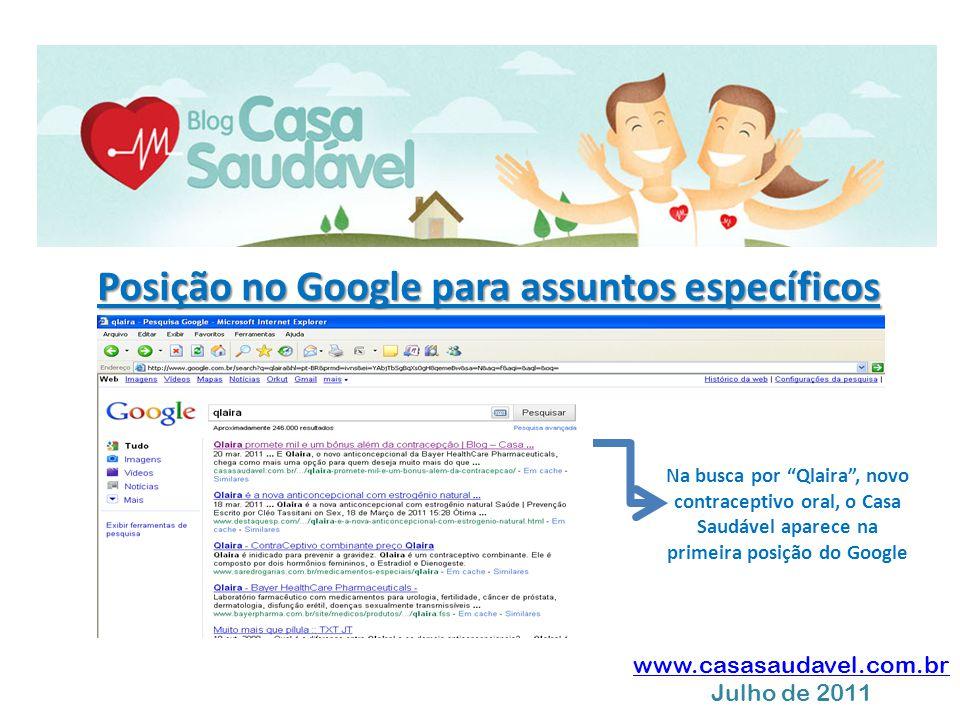 """www.casasaudavel.com.br Julho de 2011 Posição no Google para assuntos específicos Na busca por """"Qlaira"""", novo contraceptivo oral, o Casa Saudável apar"""