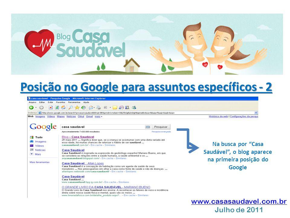 """www.casasaudavel.com.br Julho de 2011 Posição no Google para assuntos específicos - 2 Na busca por """"Casa Saudável"""", o blog aparece na primeira posição"""