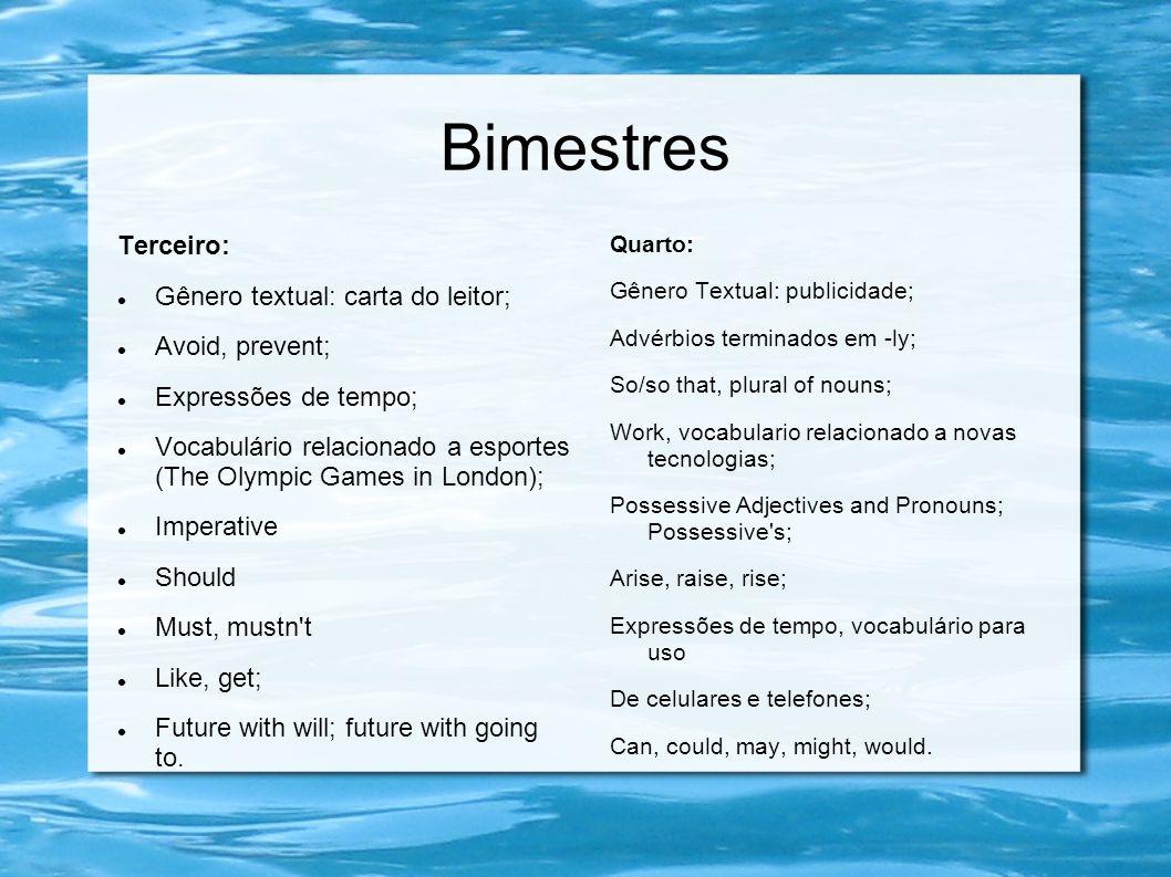 Bimestres Terceiro:  Gênero textual: carta do leitor;  Avoid, prevent;  Expressões de tempo;  Vocabulário relacionado a esportes (The Olympic Game