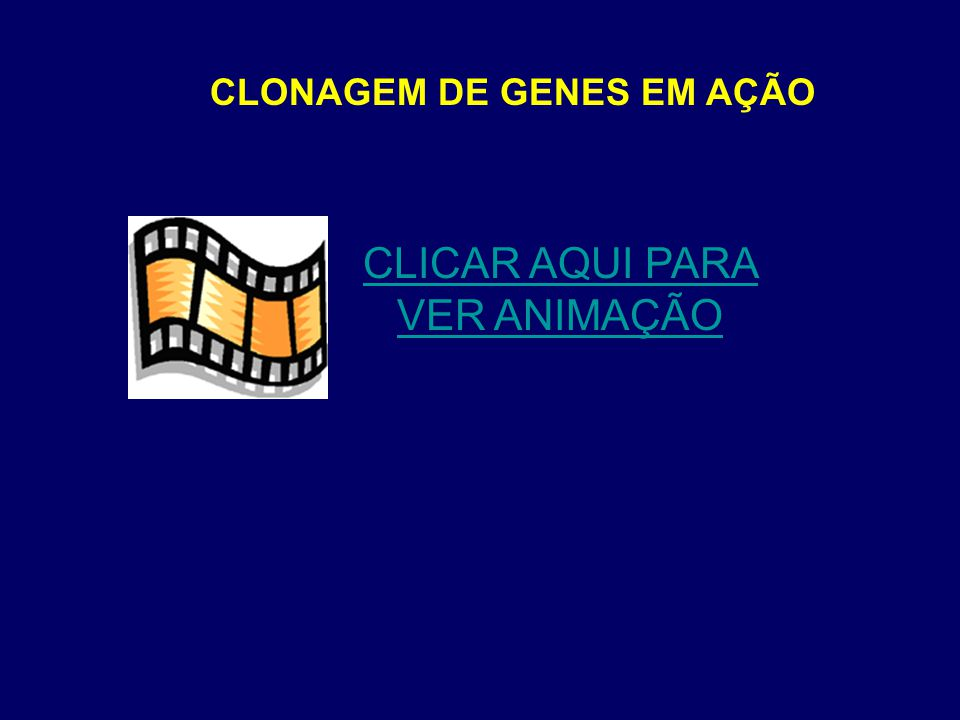 CLONAGEM DE GENES EM AÇÃO CLICAR AQUI PARA VER ANIMAÇÃO